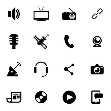 medios de comunicación social: Vector icono de medios Conjunto negro sobre fondo blanco