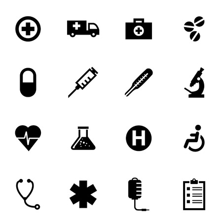 syringe: Vector black medical icon set on white background