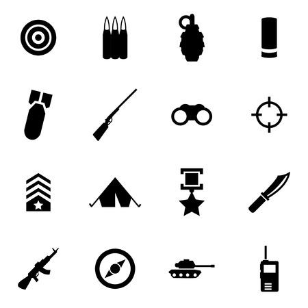 estrellas  de militares: Vector icono militar negro ajustado en el fondo blanco