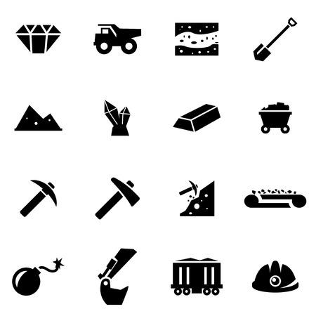 camion minero: Vector icono de la miner�a negro ajustado en el fondo blanco