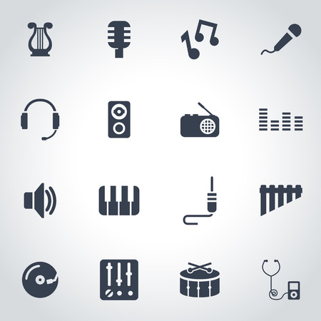 Vector black music icon set  on grey background Illustration