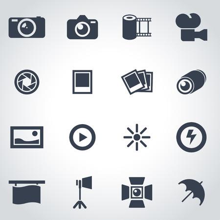 Vector black photo icon set on grey background