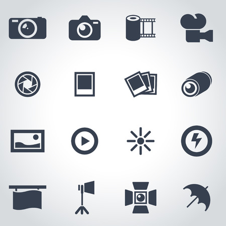photo equipment: Vector black photo icon set on grey background