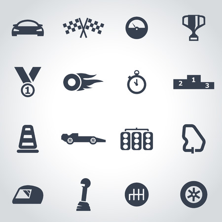 Vector black racing icon set on grey background Иллюстрация