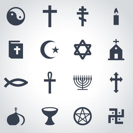 the christian religion: Vector black religion icon set on grey background