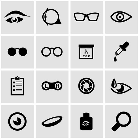 eye exams: Vector black optometry icon set on grey background
