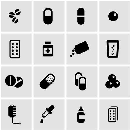 vitamin pills: Vector black pills icon set on grey background Illustration