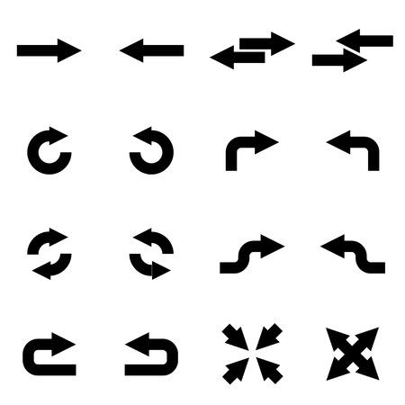 flechas: flechas negras conjunto de iconos en el fondo blanco Vectores