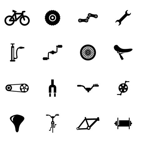 bicycle icon: black bicycle icon set on white background