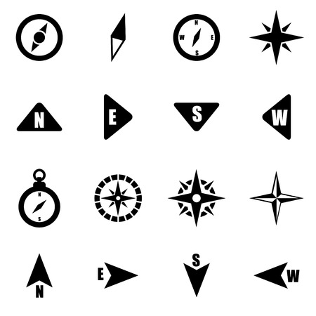 compass: black compass icon set on white background Illustration