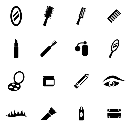 cosmeticos: cosméticos negro conjunto de iconos en el fondo blanco
