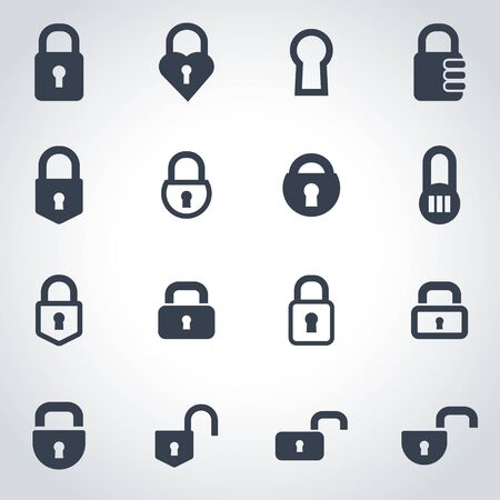 closed lock: black locks icon set on grey background