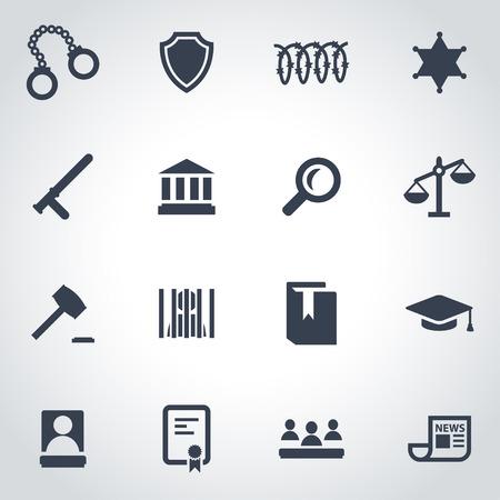 justice: black justice icon set on grey background Illustration