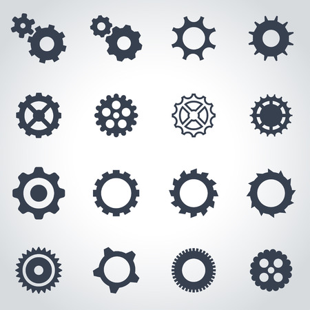 gear: black gear icon set on grey background