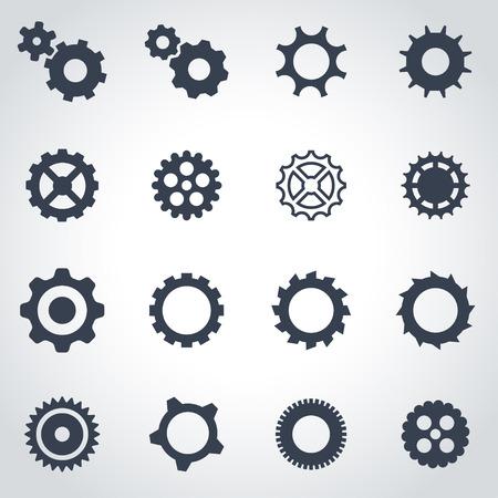 engranajes: negro icono de engranaje situado en el fondo gris