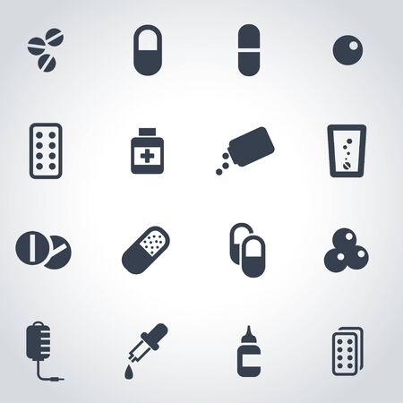 aspirin: black pills icon set on grey background Illustration