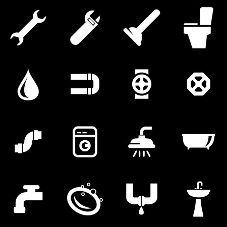 pipe wrench: white plumbing icon set on black background Illustration
