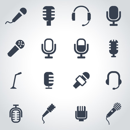 black microphone icon set on grey background 向量圖像