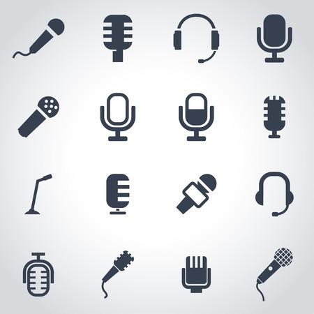 black microphone icon set on grey background Illustration