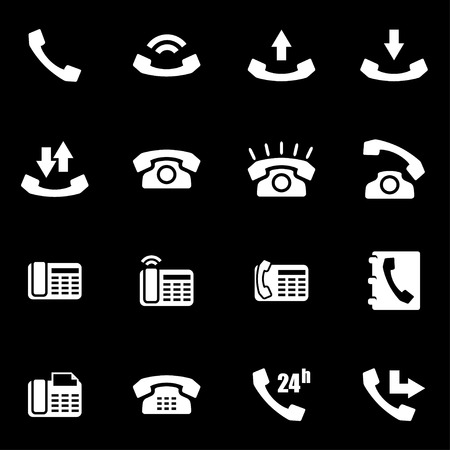 telephone icon: white telephone icon set on black background Illustration