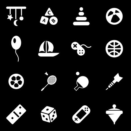 white toys icon set on black background