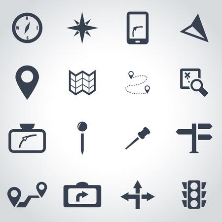 navegacion: negro del icono de navegación situado en el fondo gris