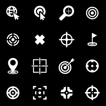 dart on target: white target icon set on black background Illustration