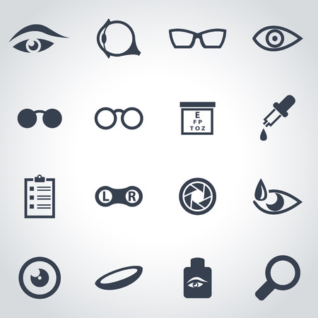 black optometry icon set on grey background Vettoriali