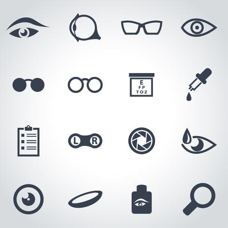 examen de la vista: icono negro de la optometría fijó en el fondo gris
