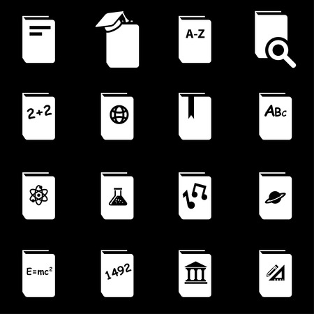 schoolbook:  white schoolbook icon set on black background Illustration