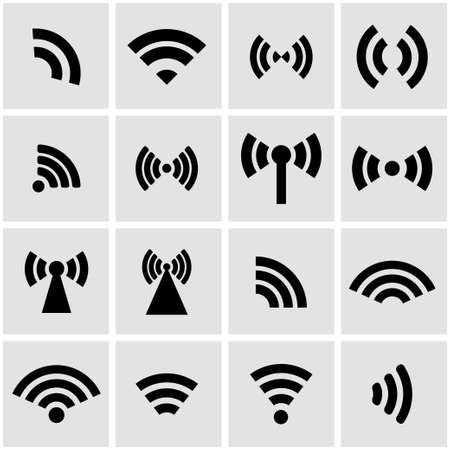 wireless signal:  black wireless icons  set on grey background
