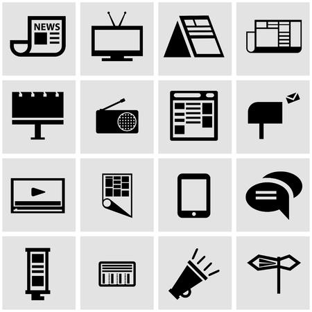 advertising media:  black advertisement icon set on grey background Illustration
