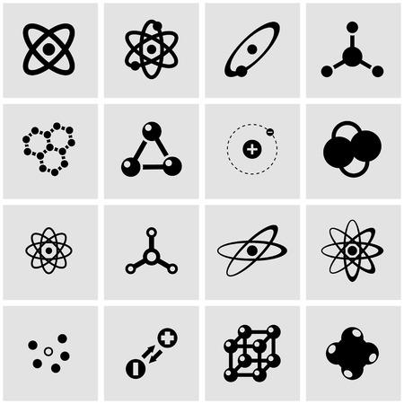 atom: black atom icon set on grey background