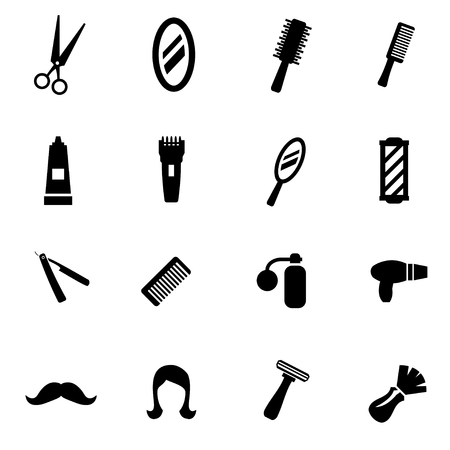 black barber: black barber icon set on white background Illustration