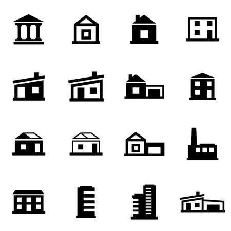 black buildings icon set on white background