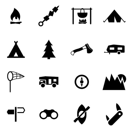 black camping icon set on white background