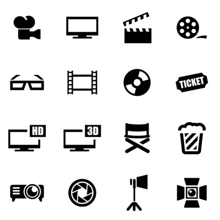 black cinema icon set on white background