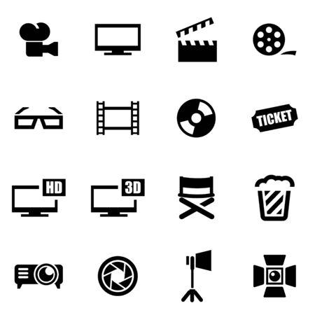 cinema strip:  black cinema icon set on white background