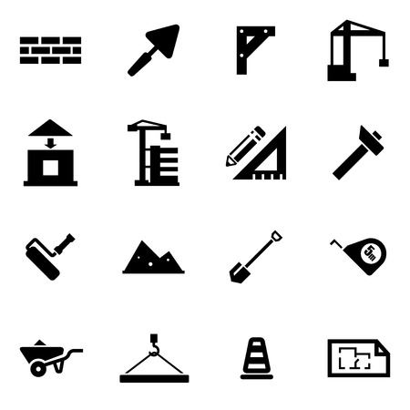 construction icon:  black construction icon set on white background