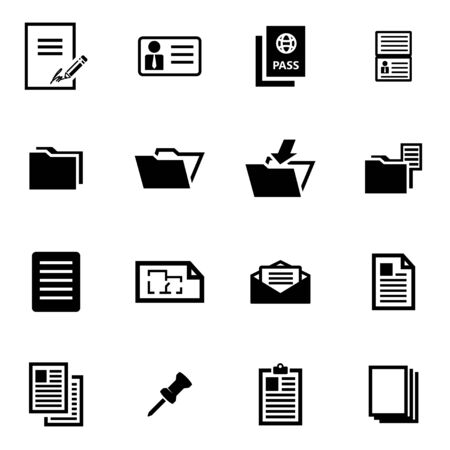 document icon:  black document icon set on white background Illustration