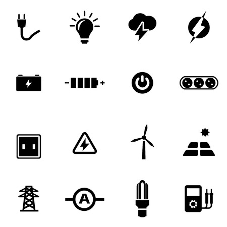 black electricity icon set on white background Çizim