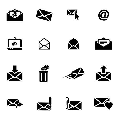 벡터 검은 이메일 아이콘 흰색 배경에 설정