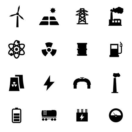 black energetics icon set on white background