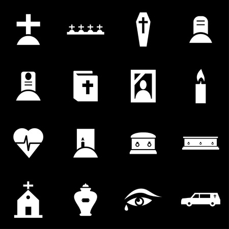 funeral:  white funeral icon set on black background