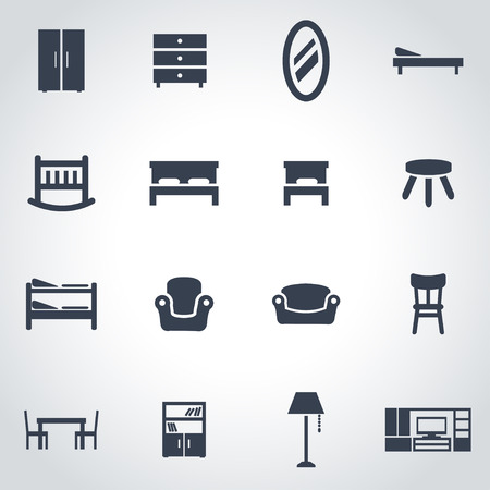 office furniture:  black furniture icon set on grey background