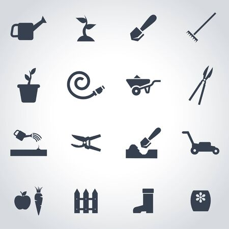 gardening equipment: Vector black gardening icon set on grey background Illustration