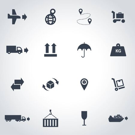 global logistics: Vector black logistic icon set on grey background