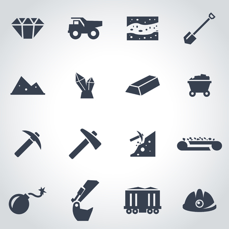black mining icon set  on grey background Çizim