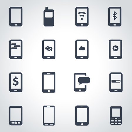 cell tower: black mobile icon set  on grey background Illustration