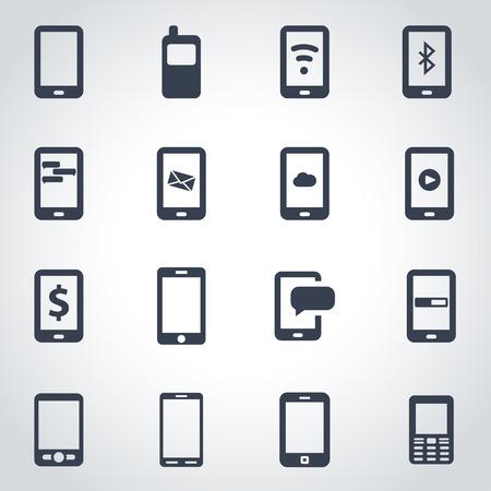 black mobile icon set  on grey background Illustration